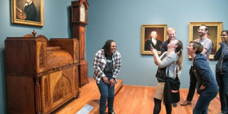 Guests doing fun team building games on a Museum Hack tour.